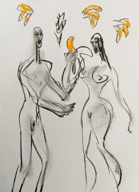 #XY #anka #mierzejewska #jablko #banan #starybanan #adam #ewa #raj #malarstwo #sztuka #fineart #contemporaryart #artcontemporain #painting