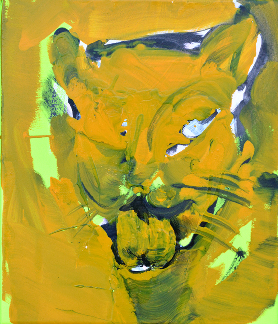 XY anka mierzejewska one eye cat yellow painting contemporary fine arts kunt artclub artcollectors houses at home