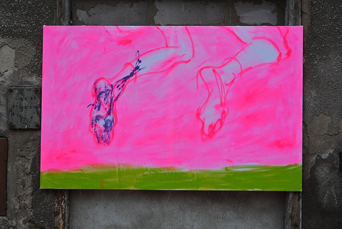 XY anka mierzejewska malarstwo sztuka obrazy contemporary finearts artist atelier wpolczesna hustawka rozowe nogi kunst kunstler