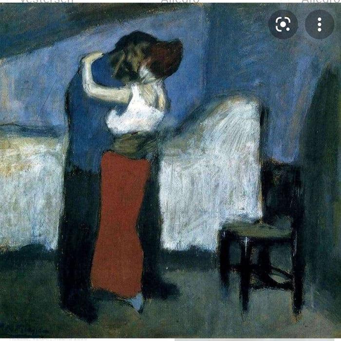 XY Picasso 1900 before the paris sucess anka mierzejewska malarstwo sztuka obrazy lovers kochankowie przytulenie hugging kunst expressionism ekspresjonizm